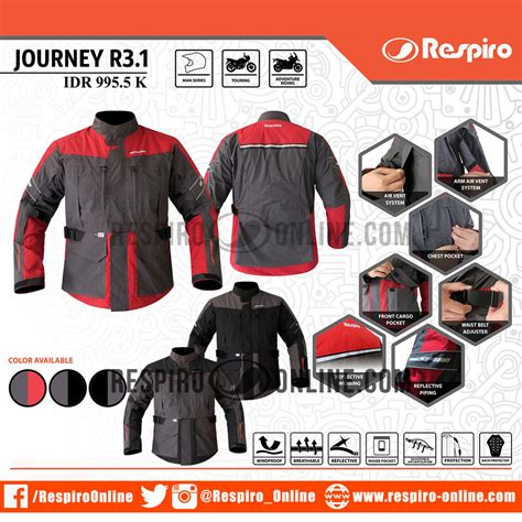 Jaket Motor Respiro Journey Charcoal Black Original jaket respiro journey r3 1 distrojaketmotor