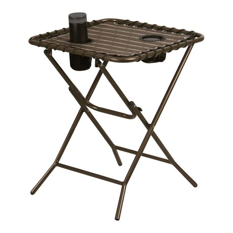 Folding Patio Side Table Folding Side Tray Table W Mesh Drink Holders Coffee Snack Outdoor Patio Ebay