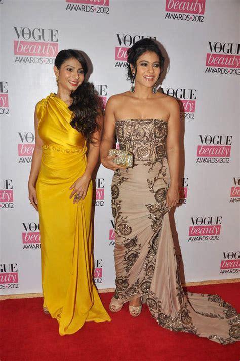 Shejab Sherle Plain Dress kajol in ayesha depala and tanisha in yellow dress at vogue awards 2012