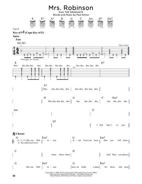 guitar tutorial mrs robinson mrs robinson by simon garfunkel guitar lead sheet
