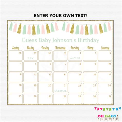 Baby Calendar Template guess baby due date calendar printable calendar template