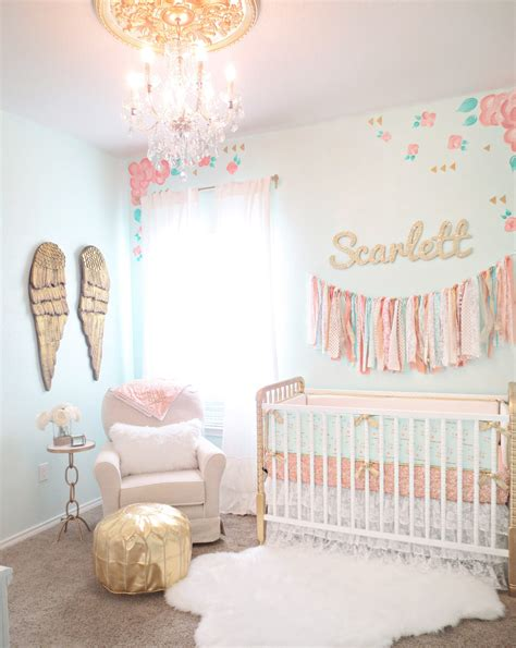vintage babyzimmer coral mint and gold vintage style s nursery