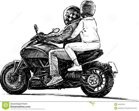 Motorrad Anmelden S W by Paare Auf Einem Motorrad Vektor Abbildung Illustration