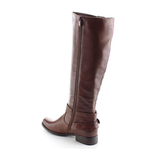 daviccino aa28 s zip buckle flat heel knee