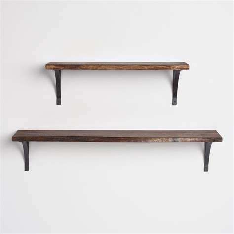 Wood Wall With Shelves Organic Edge Wood Mix Match Wall Shelf Collection