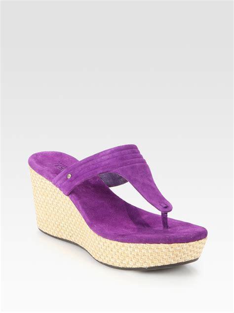 ugg zamora suede platform wedge sandals in purple lyst