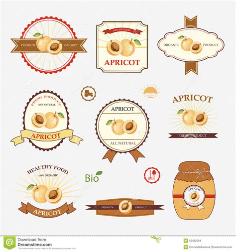 label design templates vector apricot set of label design stock vector illustration