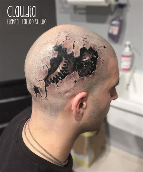realistic gears on head best tattoo ideas amp designs
