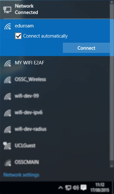 connect to connecting to eduroam wifi with microsoft windows 10