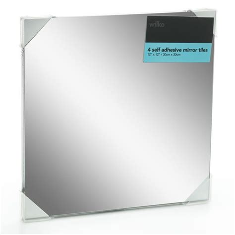 self adhesive wall tiles for bathroom wilko mirror tiles self adhesive 30cmx30cm x 4 home
