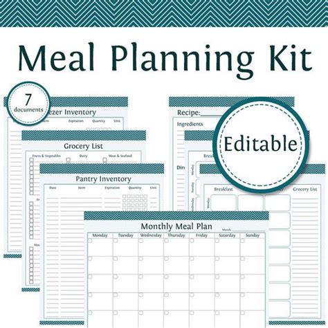 meal planner kit editable instant download printable