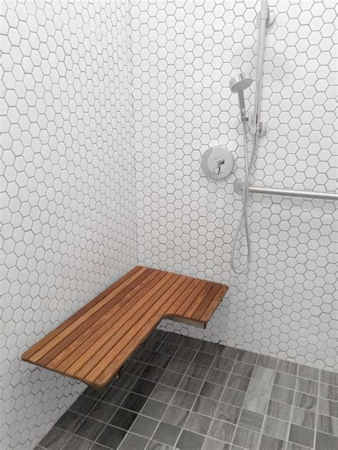 custom teak shower bench 17 best images about accessible bathrooms on pinterest