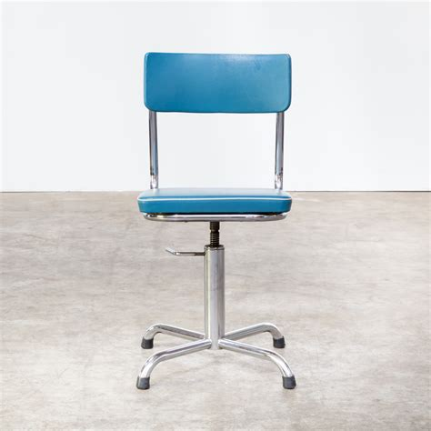 Small Desk With Chair 60s Small Office Chair Blauw Skai With White Trim Barbmama