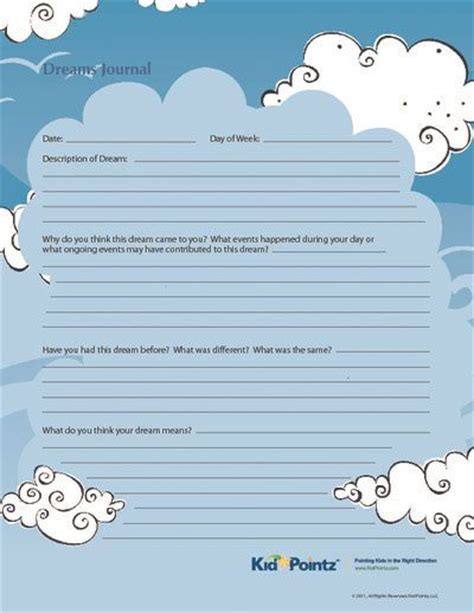 printable behavior journal dream reflection journal printable for kids therapy