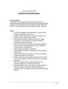Production Description production supervisor description template sle