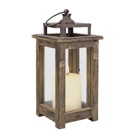 stonebriar collection 12 in h rustic wood lantern sb
