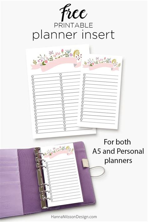 printable planner supplies printable planner insert a5 and personal size free