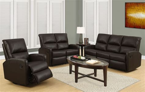 Brown Leather Living Room Set 84br 3 Brown Bonded Leather Reclining Living Room Set 84br 3 Monarch