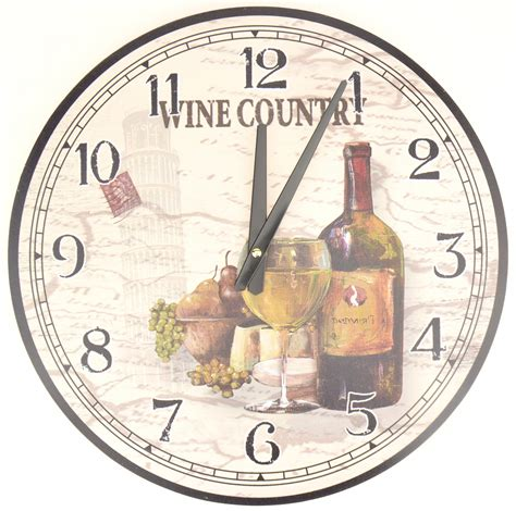 hanging wall clock wine country theme grapes bottle glass