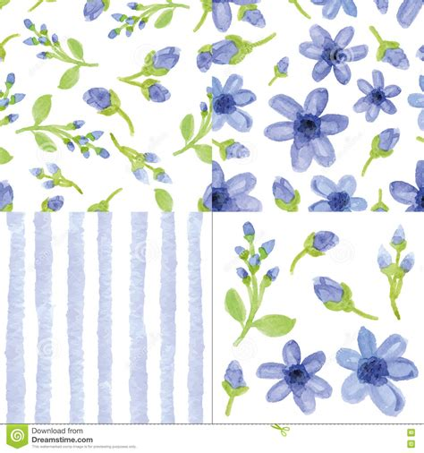 cute pattern set watercolor blue flowers strips seamless pattern cute set