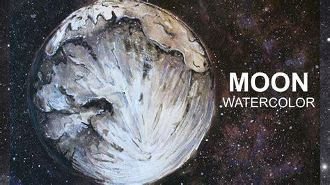watercolor moon tutorial diy moon planets and galaxy art watercolor tutorial