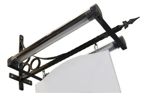 trough lighting traditional iron bracket wall sign with trough light