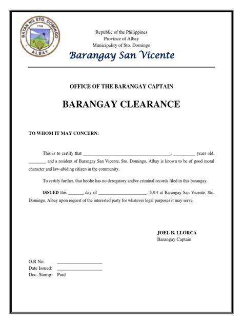 sle of barangay certification letter brgy clearance sle revenue
