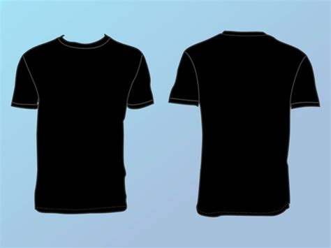 black shirt template front and back black t shirt front and back vector free