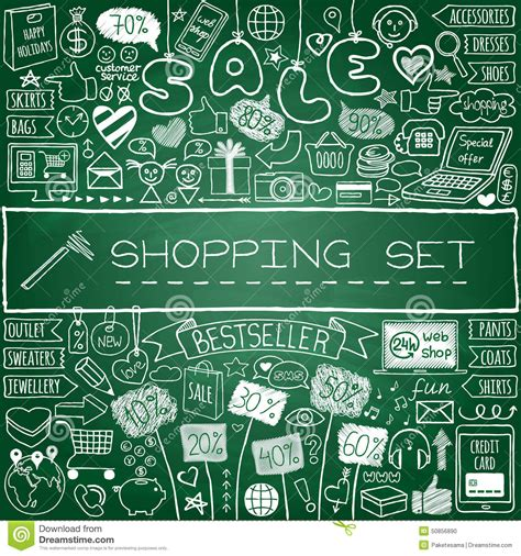 doodle shopping shopping doodle set stock vector image 50856890