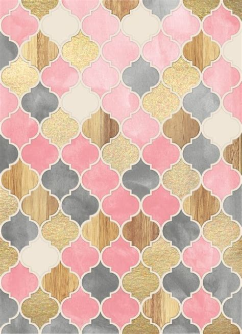 grey moroccan pattern silver grey soft pink wood gold moroccan pattern art