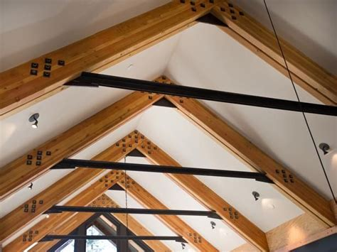 raised ceiling frame remodel me please pinterest glue laminated wood beams connected one another with steel