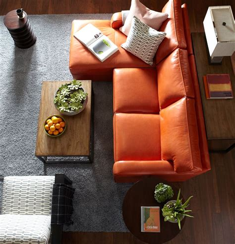 Farbe Wohnzimmer Ideen 4921 by Orange Leather In A Great Living Room Layout