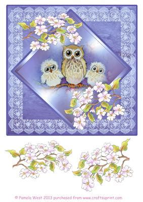 Owl Decoupage - 3 owls with apple blossom decoupage sheet cup419276 117