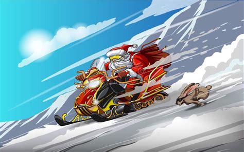 santa claus   snowmobile  rabbit snow racing happy  year merry christmas stock