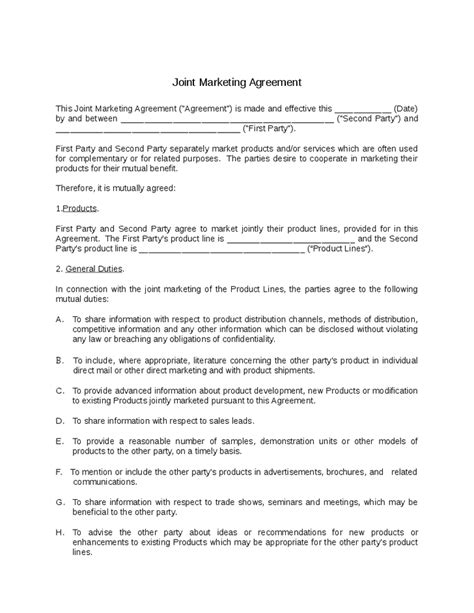 joint marketing agreement template alcfes info page 4 of 112 agreement template free