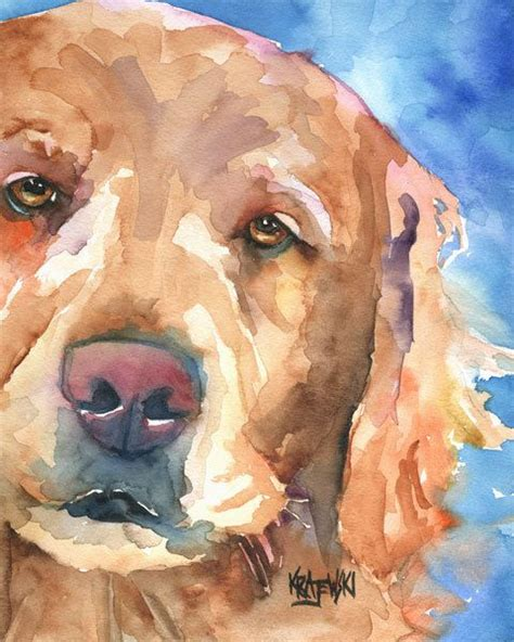 golden retriever paintings golden retriever print of original watercolor painting 8x10