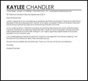Preschool Assistant Teacher Cover Letter Sample Livecareer