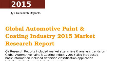 Mba Paint Industry Analysis by Global Automotive Forecast 2015 Autos Post