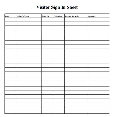 visitor sign in register template 7 sle sign in sheets sle templates