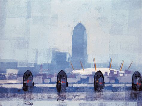 thames barrier going up thames barrier by colin ruffell