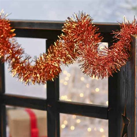 metallic orange tinsel garland christmas garlands