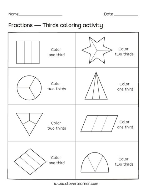 fraction coloring sheets activity on fractions thirds worksheets for children