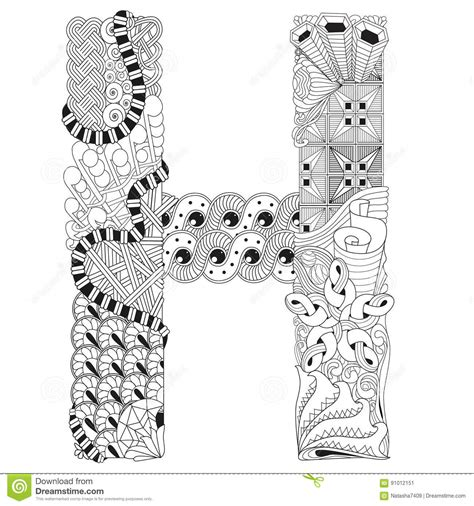 H Coloring Pages For Adults by Zentangle Letter H Coloring Pages For Adults Coloring Pages