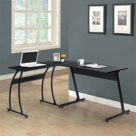 Corner Metal Desk Black Finish Metal Wood L Shape Corner Computer Desk Pc Laptop Table Workstation Home Office