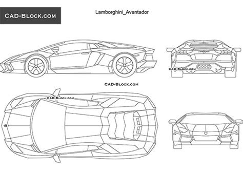 Lamborghini Aventador Blueprint Lamborghini Reventon Cad Blocks In Plan Front Side