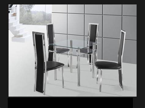 Square Dining Table And 4 Chairs Square Clear Chrome Glass Dining Table And 4 Chairs Homegenies