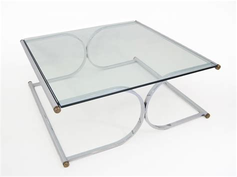 mid century curved x base chrome and glass square coffee
