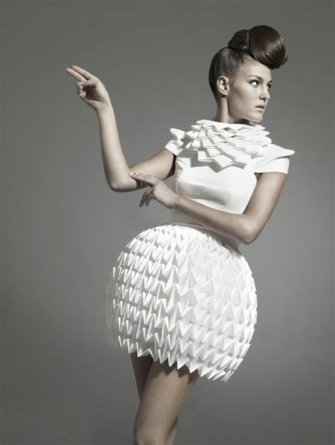 Origami In Fashion - nintai origami inspired geometric dresses strictlypaper