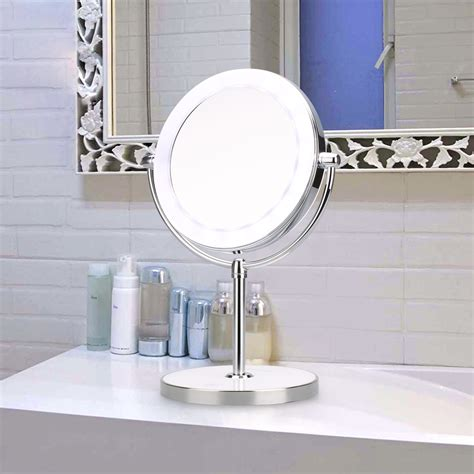 countertop makeup mirrors with light side 7x magnification led light makeup mirror