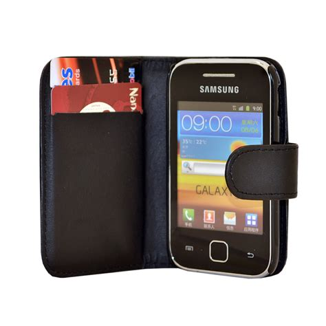 Casing Hp Samsung Galaxy Gt S5360 black wallet leather phone card slots for samsung